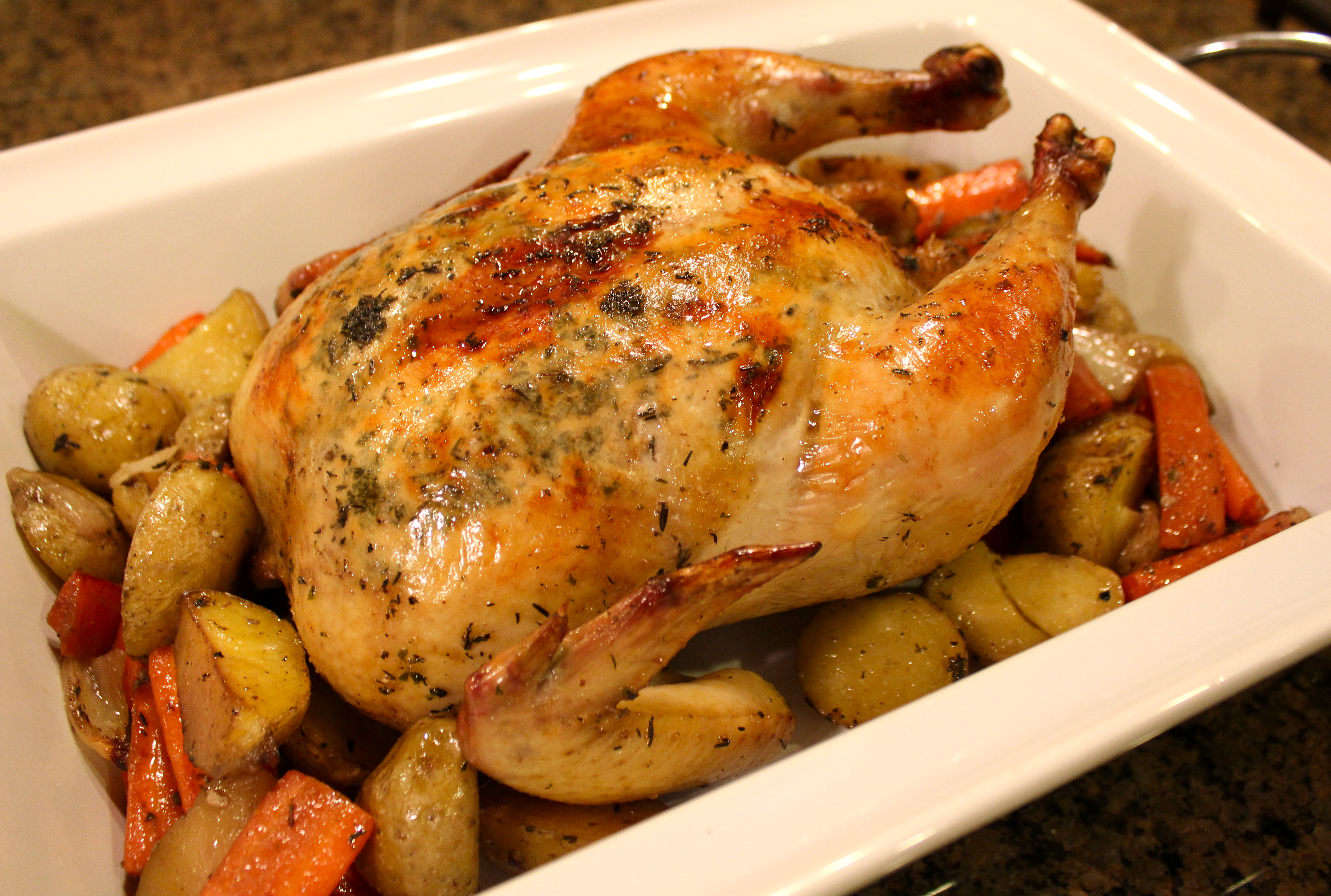 Roasted Chicken & Root Vegetables with Candied Walnut Salad « The ...