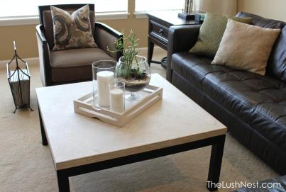 Crate & Barrel - Parsons Square Coffee Table with Travertine Top